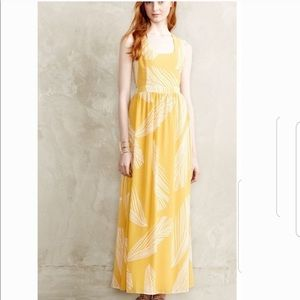 Anthropologie yellow maxi dress size 8